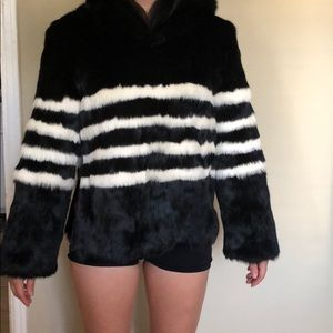 New Pam & Gela Real FUR hoodie puller over size S